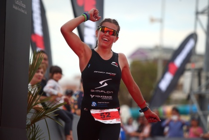 Bianca Steurer of Austria celebrates after finishing second in the womens race during the Ironman 70.3 Pescara on June 12, 2016 in Pescara, Italy. (Photo by Charlie Crowhurst/Getty Images for Ironman)