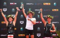 Womens podium Bianca Steurer, Nicola Spirig, Carina Brechters (Photo by Charlie Crowhurst/Getty Images for Ironman)